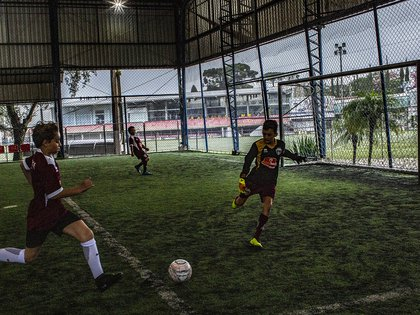 Young players practice at the Trieste Futebol Club's facilities in Curitiba, Brazil, on Feb. 27, 2019. Renan Lodi's arrival at Atlético Madrid has fulfilled his soccer dreams, but it also produced a payday years in the making for the scouting business that discovered him at age 13. (Dado Galdieri/The New York Times)