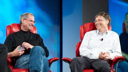 Sonrisas entre rivales: Steve Jobs y Bill Gates