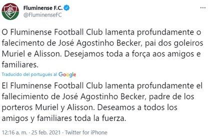 El mensaje del club Fluminense tras la muerte del papá de Alisson y Muriel Becker (@FluminenseFC)