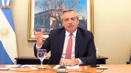 Alberto Fernández, ayer, en videoconferencia organizada por el Consejo de las Américas.