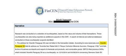 """Vicentin Paraguay fue reportada por la FinCEN en 2014 y 2015 por sus transacciones con Glencore Grain que fueron consideradas como """"sospechosas"""" preventivamente."""