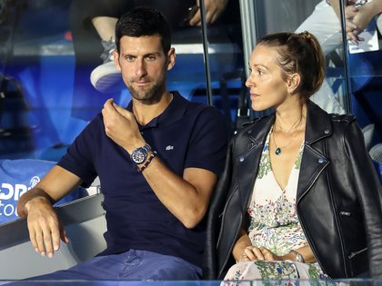 Serbia's Novak Djokovic with his wife Jelena in the stands during Adria Tour at Novak Tennis Centre in Belgrade, Serbia, June 14, 2020. Picture taken June 14, 2020. REUTERS/Marko Djurica