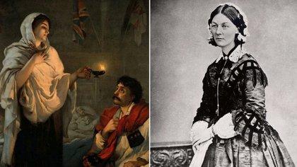 Florence Nightingale en un retrato de Henrietta Rae y una fotografía suya de mitad de siglo XIX