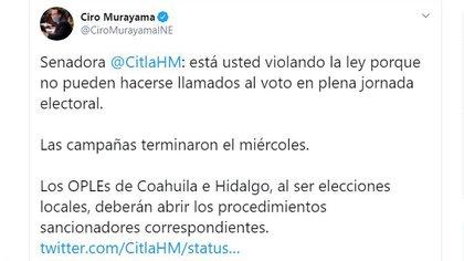 Ciro Murayama criticó a la senadora con licencia (Foto: Twitter / @CiroMurayamaINE)