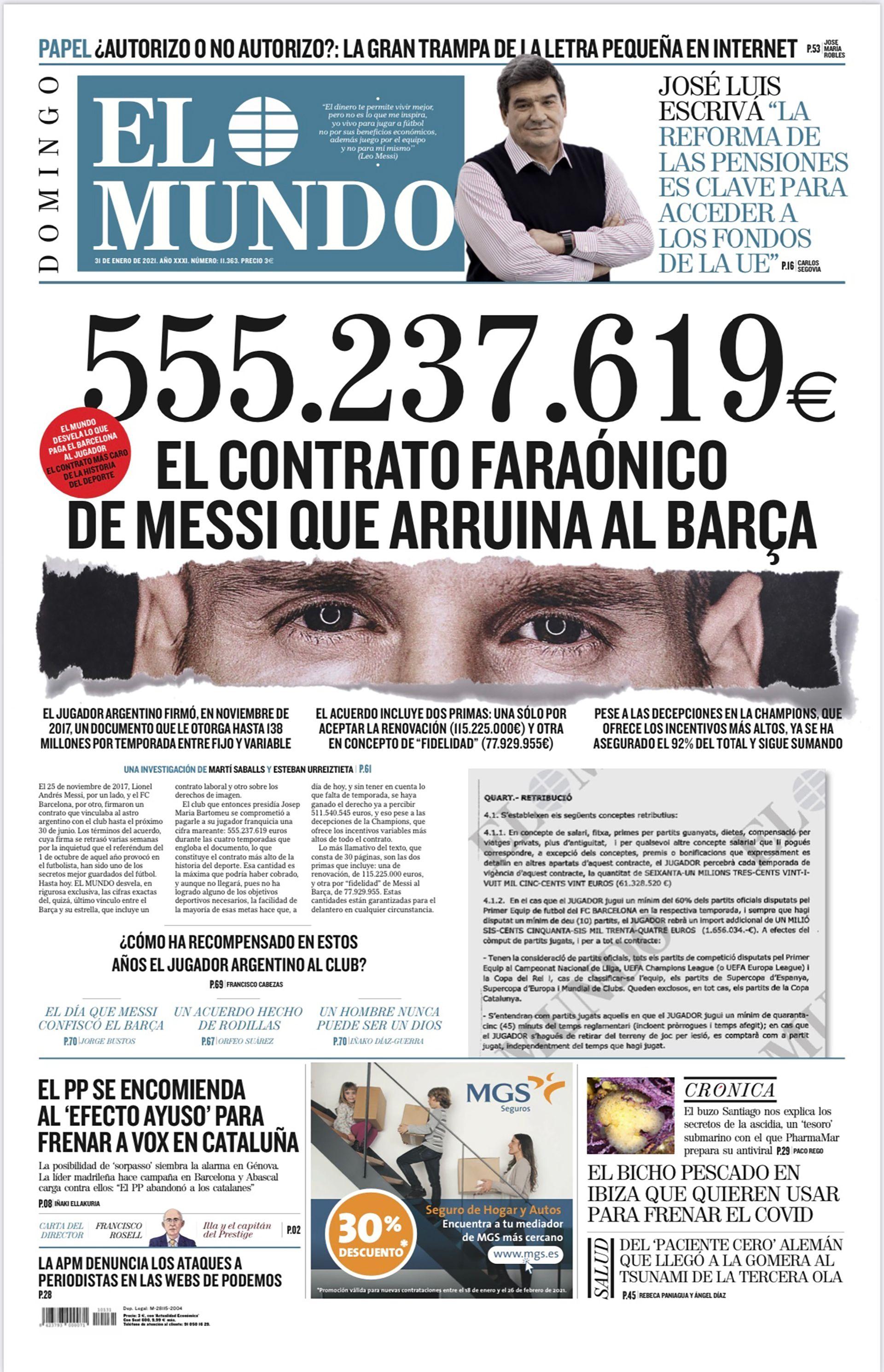 Tapa Diario El Mundo messi