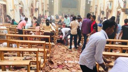 Interior de una de las iglesias atacadas en Sri Lanka