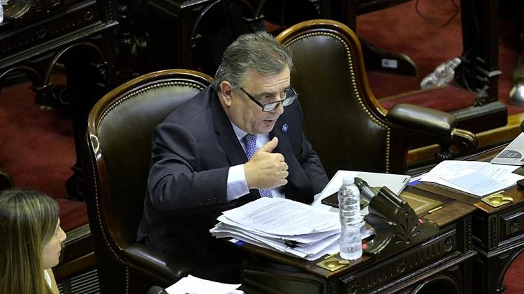 Mario Negri en el recinto durante el debate de la Emergencia Económica (Foto: Gustavo Gavotti)