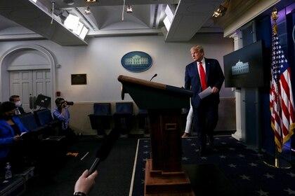 Trump, quien se siente más cómodo frente a sus simpatizantes, se vio limitado en los últimos meses a las conferencias de prensa en la Casa Blanca (Reuters)