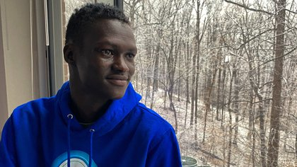 Video game developer Lual Mayen, 25, who learned to code in a refugee camp after fleeing South Sudan, poses for a portrait at his home in Washington, D.C., U.S., January 7, 2020. Picture taken January 7, 2020.  REUTERS/Lucy Nicholson
