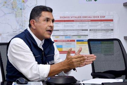 Fotografía cedida que muestra al alcalde de Cali, Jorge Iván Ospina, quien habla hoy, lunes en Cali. EFE/ ALCALDIA DE CALI