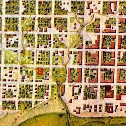 Un plano de la Buenos Aires virreinal, con los arroyos que atravesan el sur de la entonces aldea. En rojo, el terreno donde hoy trabaja Schavelzon y su equipo