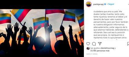 Post en Instagram de Paola Jara. Foto: Instagram @paolajarapj