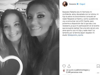 El posteo de Lissa Vera luego de la muerte de Natacha Jaitt