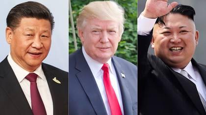 Xi Jinping, presidente chino; Donald Trump, presidente de EEUU; y Kim Jong-un, dictador norcoreano (Getty)