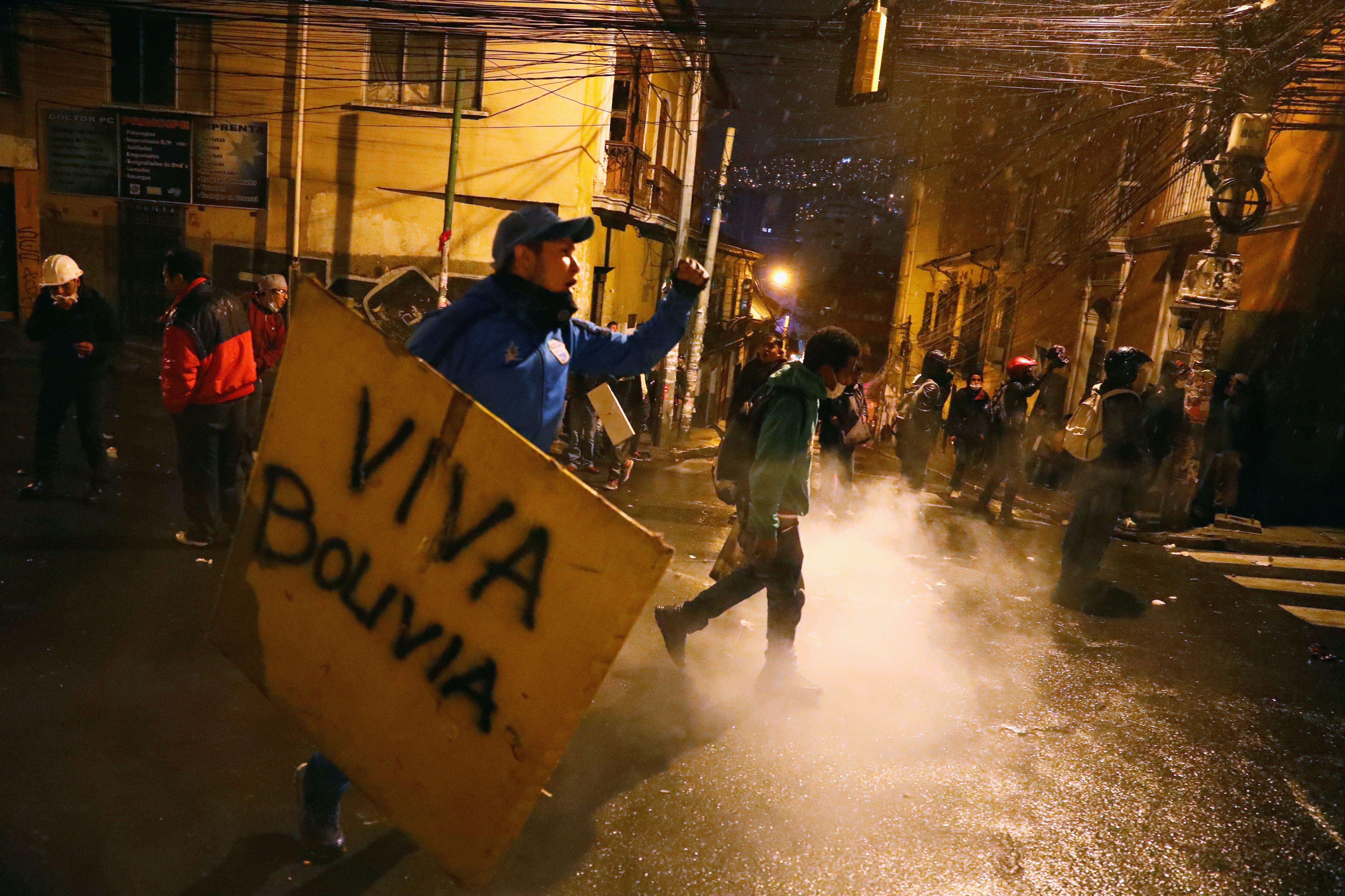 Manifestantes en La Paz.. REUTERS/Kai Pfaffenbach