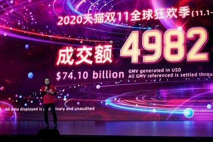 """Alibaba reportó ganancias masivas por las ventas durante el """"Día de los Solteros"""" en China. Foto: REUTERS/Aly Song"""