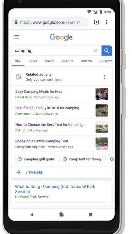 El usuario podrá retomar las búsquedas con mayor facilidad con las tarjetas de actividad.