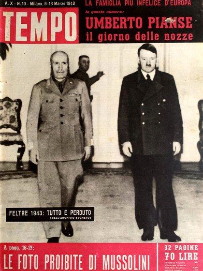 Días antes de ser derrocado, Mussolini se reunió con Hitler en la ciudad de Feltre, en el norte de Italia. Fue un último intento del Duce para pedirle a su aliado refuerzos tras el desembarco de los Aliados en Sicilia el 10 de julio de 1943. Al parecer, Hitler no lo dejó ni siquiera hablar (Foto: Revista Tempo del 13 de marzo del 1948)