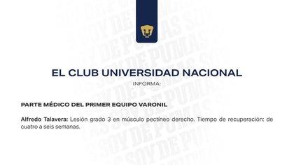 Comunicado de los Pumas sobre lesión de Alfredo Talavera (Foto: Club Universidad Nacional)