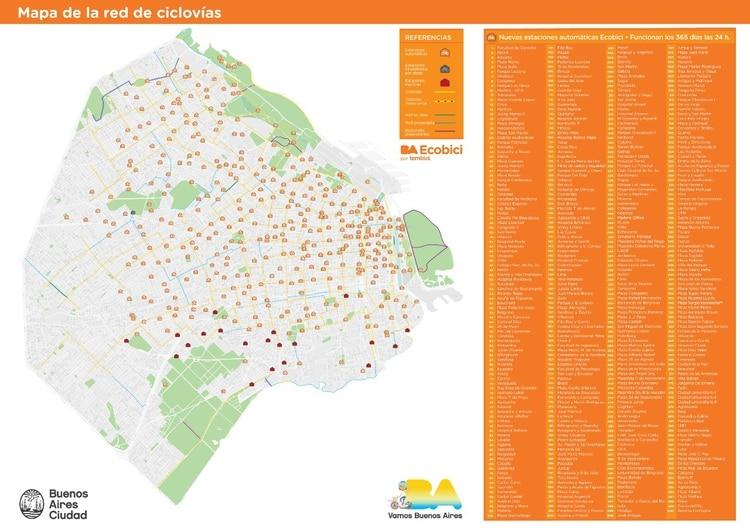 El mapa actualizado de las estaciones de Ecobicis. En rojo, las que fueron retiradas.