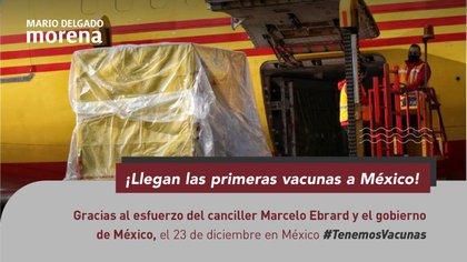 Los mensajes hacen proselitismo con imágenes que hacen uso de recursos del Estado (Foto: Twitter @mario_delgado)