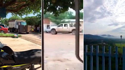 """Vehículos con blindajes """"hechizos"""" y comandos armados se dejaron ver por el municipio de Tepalcatepec, Michoacán (Foto: Especial)"""