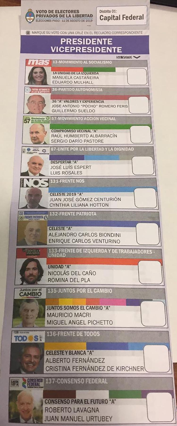 La boleta única de candidatos a presidente de la nación que se usará el domingo en las cárceles