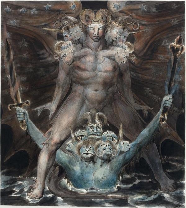 """""""El gran dragón rojo y las bestias del mar"""", de William Blake"""