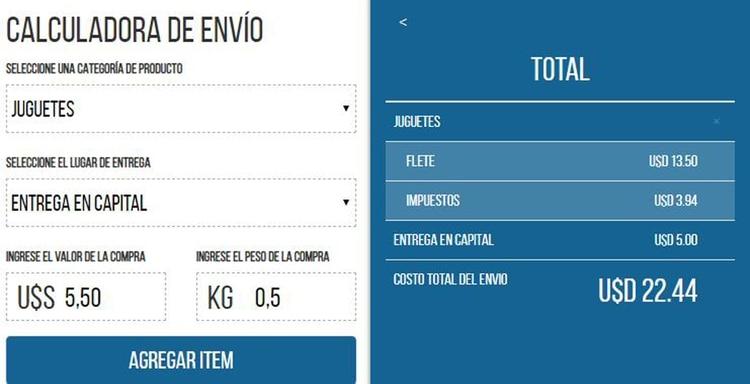 Este es el costo calculado por Aerobox para el juguete