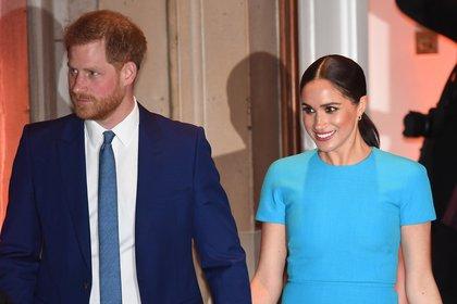 Meghan Markle y el príncipe Harry en su último viajo a Londres en 2019 (EFE)