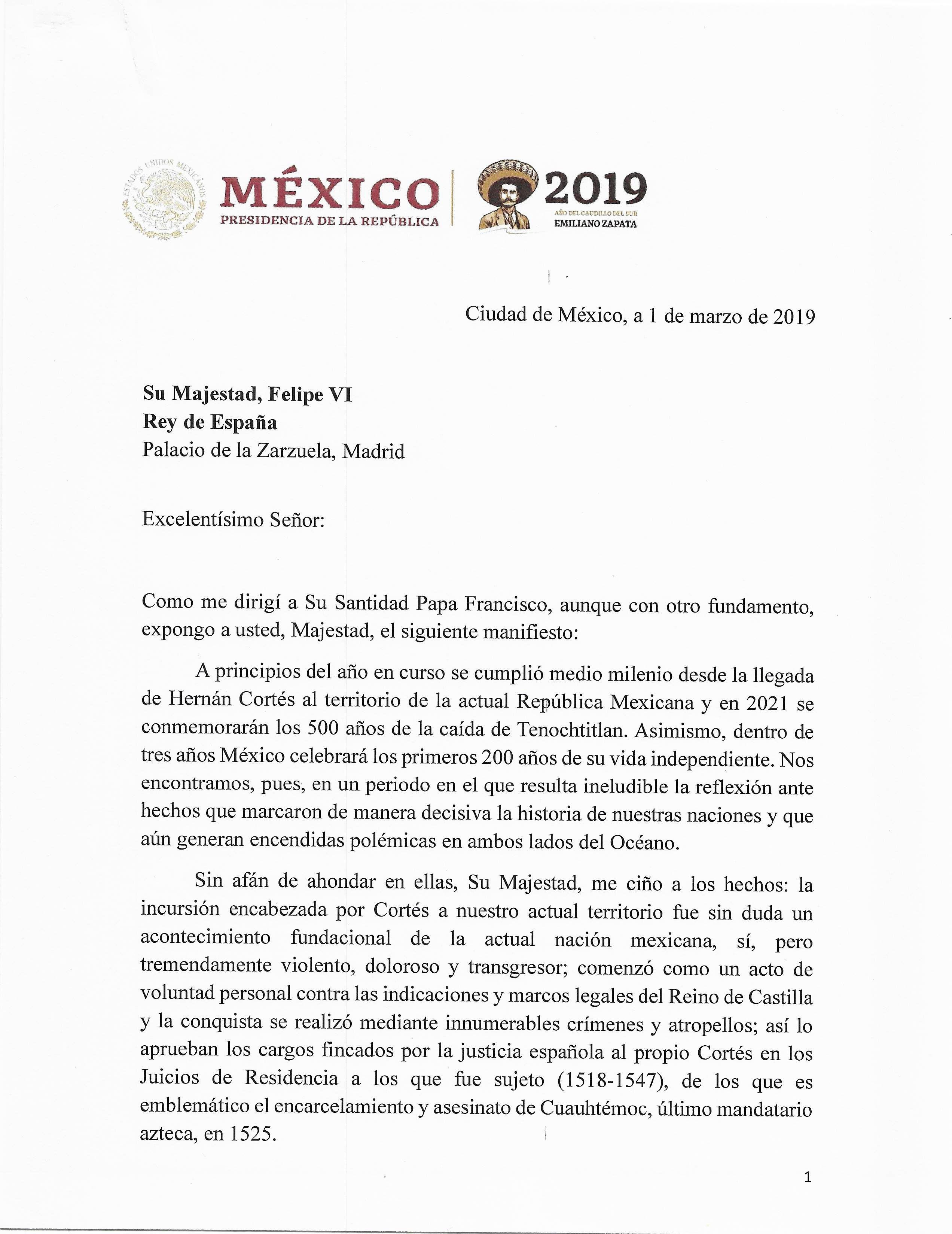 CARTA AMLO - REY - ESPANA - MEXICO - 11012021