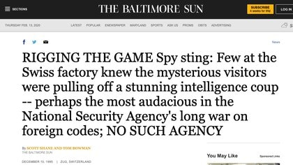 The Baltimore Sun hizo la investigación pionera del espionaje mediante las máquinas de Crypto, en 1995.