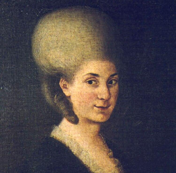 Nannerl Mozart hacia 1785: el padre, Leopold, ya la había alejado de los escenarios y le había impedido casarse con el hombre que amaba. Ese año tendría a su primer hijo, de su matrimonio aprobado.