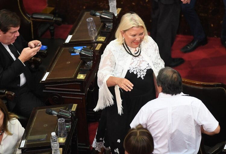 La diputadadurante la Asamblea Legislativa festejó el discurso de Macri