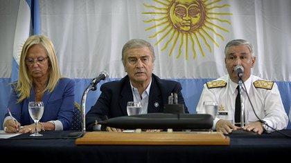 El ministro Oscar Aguad, durante la conferencia de prensa en la cual se anunció el hallazgo de los restos del ARA San Juan (Foto: Gustavo Gavotti)