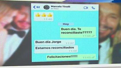 """El chat de Rial con Tinelli, en el que el conductor confirma que está en pareja nuevamente con Guillermina Valdés (Foto: captura """"Intrusos"""" - América)"""