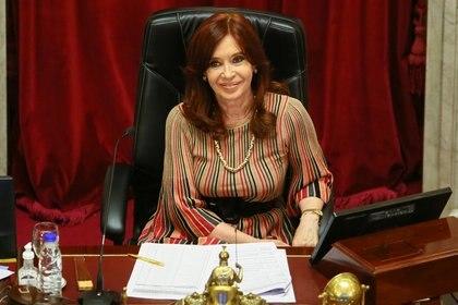 Cristina Fernández de Kirchner durante el debate del aborto legal en la Cámara de Senadores