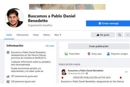 """A través de la red social Facebook, la familia de Pablo lo seguía buscando y pedía una recompensa a cambio de información sobre su paradero. """"Puede encontrarse perdido y/o desorientado y no saber quien es"""", decían."""