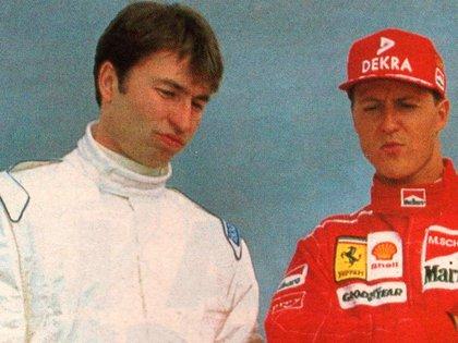 Heinz-Harald Frentzen y Michael Schumacher en la previa de la temporada 1997 de la Fórmula 1 (Archivo CORSA).