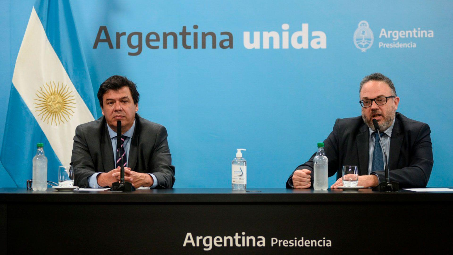 Los ministros Claudio Moroni y Matías Kulfas