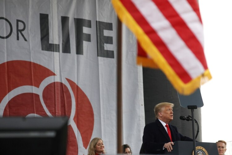 El presidente de Estados Unidos, Donald Trump, en la Marcha por la Vida número 47, en Washington (REUTERS/Leah Millis)