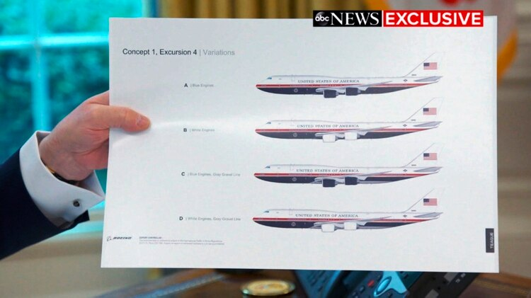 Trump mostró el rediseño del Air Force One (ABC News via AP)