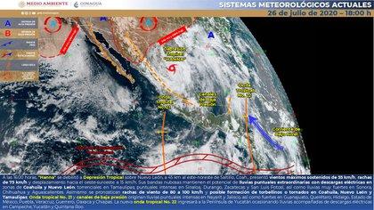 """""""Hanna"""" se debilitó a depresión tropical sobre Nuevo León (Foto: SMN)"""