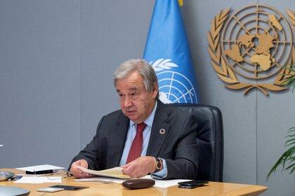 El secretario general de Naciones Unidas, Antonio Guterres, durante reciente un evento internacional para impulsar respuestas coordinadas a la pandemia de COVID-19 (EFE/Eskinder Debebe/ONU)