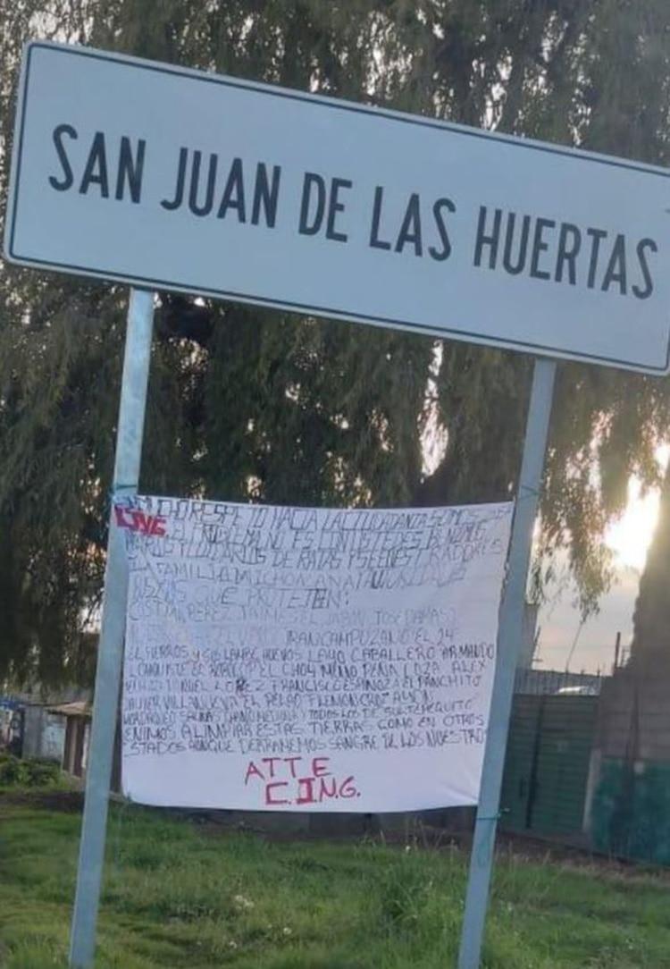 Una narcomanta del CJNG en Estado de México (Foto: Twitter)