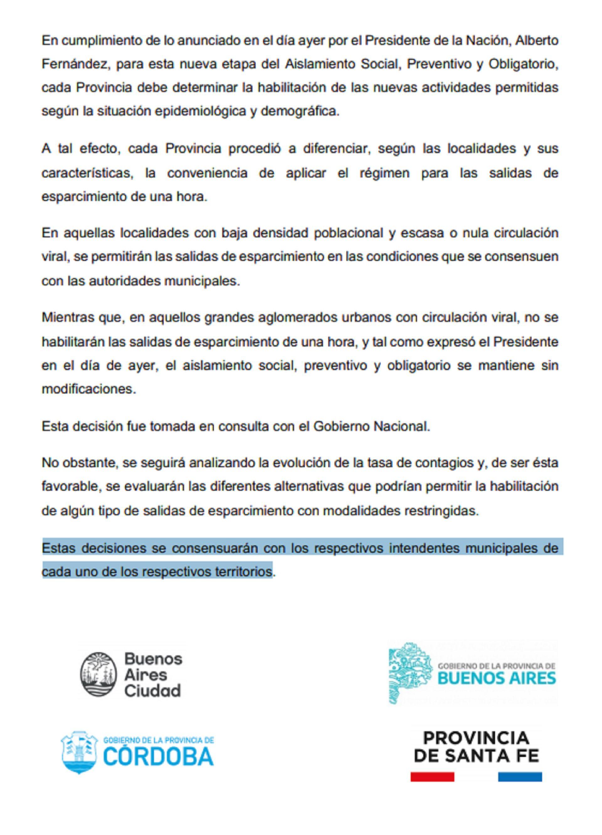 El comunicado conjunto de los gobiernos de CABA, Buenos Aires, Córdoba y Santa Fe