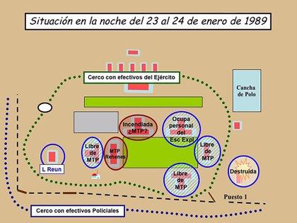 Así estaba la situación en La Tablada durante la noche entre el 23 y el 24 de enero