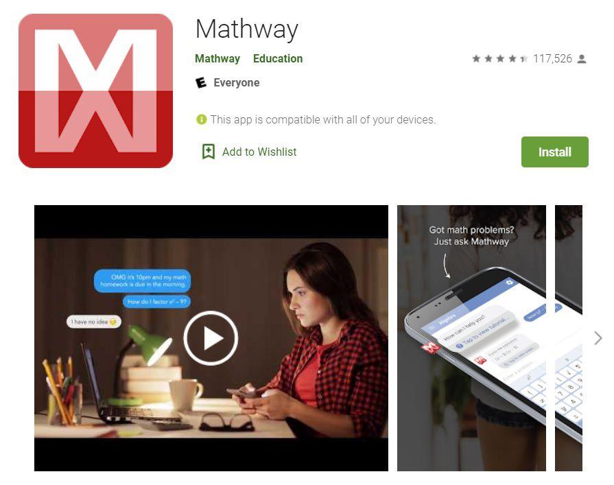 Mathway está disponible para Android.