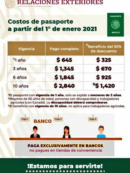 Estos son los precios para los pasaportes en México a partir del 1 de enero de 2021