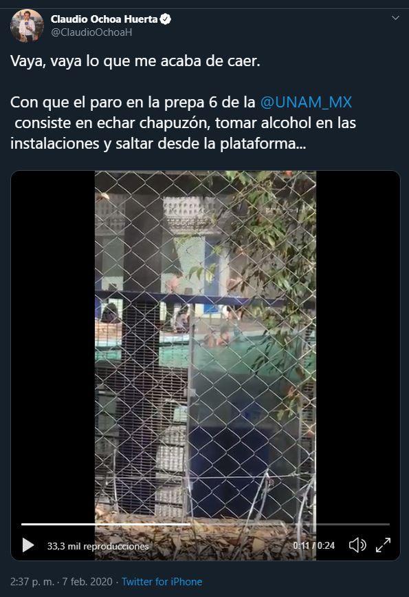 Tras el paro en varios institutos de la UNAM, la escuela de Coyoacán ha llamado la atención por el uso indebido de las instalaciones (Captura de pantalla: Twitter@ClaudioOchoaH)